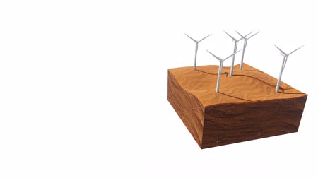 cross section : Wind turbines in abstract desert 3D animation