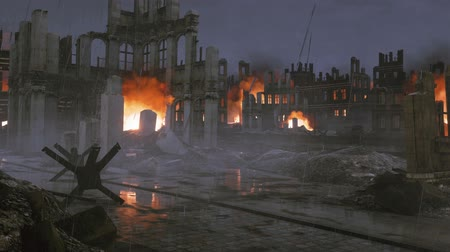 seconda guerra mondiale : Ruined after war city with burning buildings at rainy night