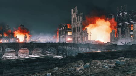 vrak : Burning building ruins in destroyed after WW2 city at night