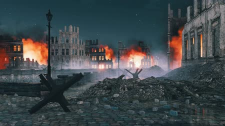 Street barricade in ruined after war city at night