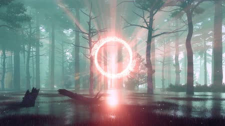 светящийся : Mystical foggy forest with portal to another world Стоковые видеозаписи