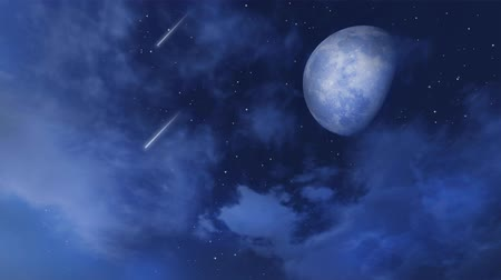 Fantastic big moon and shooting stars in night sky with clouds
