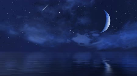Big half moon and falling stars in night sky above calm ocean