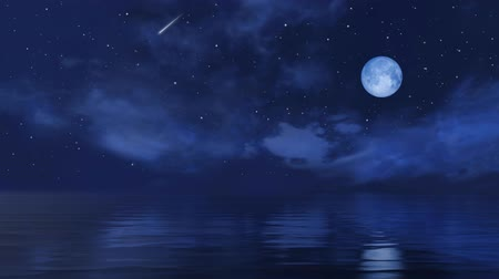 Full moon and falling stars in starry night sky above calm ocean