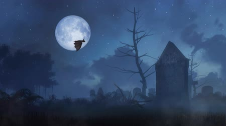 grim : Spooky night cemetery with big full moon and flying bat silhouette