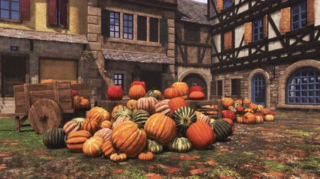 autumnal : Thanksgiving autumn pumpkins at country market in small medieval village