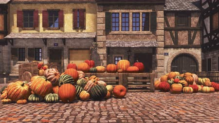 Autumn pumpkins at country market in small medieval village