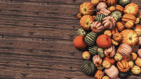 Pumpkins on wooden background with copy space top view