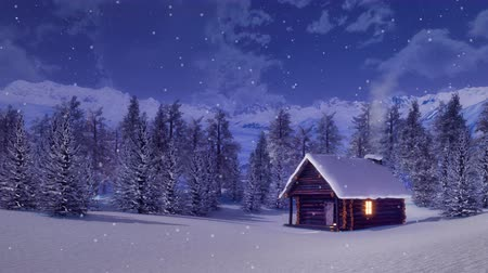 lucfenyő : Solitary snowbound log cabin with smoking chimney and lighted window among fir forest high in snowy alpine mountains at snowfall winter night