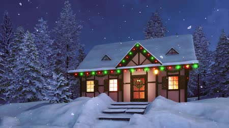 half timbered : Rural half-timbered house decorated with christmas lights and garlands among snowbound fir tree forest at snowy winter night