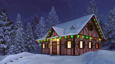 half timbered : Cozy half-timbered rustic house decorated for Xmas and illuminated by christmas lights garlands among snow covered fir forest at calm winter night Stock Footage