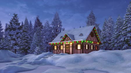 half timbered houses : Peaceful winter landscape with cozy snowbound rustic house decorated by christmas lights among snow covered fir tree forest at snowfall night