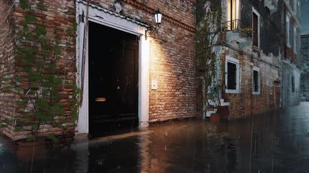 Flooded with water entrance door of ancient venetian building on empty street during anomalous High Water flood Acqua Alta in Venice, Italy at rainy dusk Dostupné videozáznamy