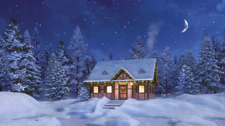 half timbered : Cozy half-timbered rural house decorated for Christmas among snowy fir forest at snowfall winter night with half moon in starry sky. Decorative 3D animation for Xmas or New Year in cinemagraph style.