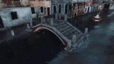 submerge : Flooded venetian street with ancient bridge over water canal and inflatable boat in the distance during High Water flood Acqua Alta in Venice at rainy dusk Stock Footage