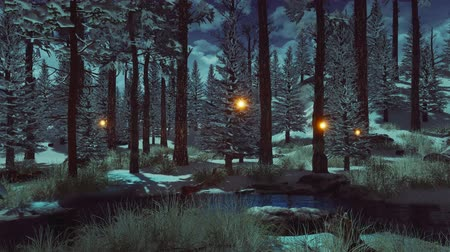 irreal : Fir and pine trees covered with first snow and magical fairy firefly lights soaring in the air in a dark mysterious winter forest at early morning or dusk. Fantasy 3D animation.