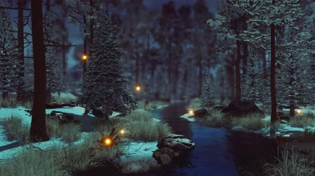 irreal : Dreamlike woodland landscape with supernatural fairy firefly lights soaring in the air over small creek in a dark mystical winter forest at early morning or dusk. Fantasy 3D animation.