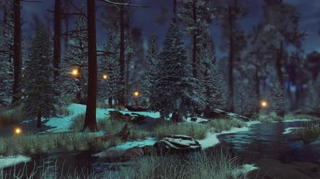 irreal : Dark mysterious pine forest with magical firefly lights soaring over small creek in early winter with first frosts and snow at dusk or dawn. Fairytale woodland scenery 3D animation. Stock Footage