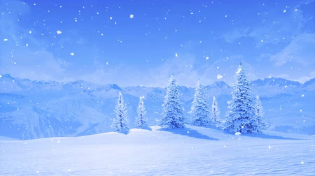 Serene wintry landscape with snowbound fir trees high in snowy alpine mountains at frosty winter day during snowfall