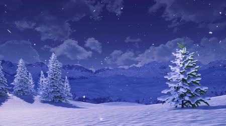 monte de neve : Peaceful winter scenery with snow covered fir trees high in snowy alpine mountains at wintry night during snowfall Stock Footage