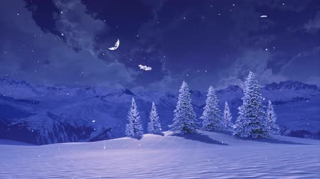 Serene winter landscape with snowbound fir trees high in snowy alpine mountains at wintry night with half moon in sky during snowfall