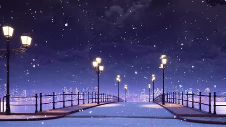 Dreamlike winter scenery with empty bridge and pavement walkway lit by street lanterns against city skyline background at wintry night during snowfall