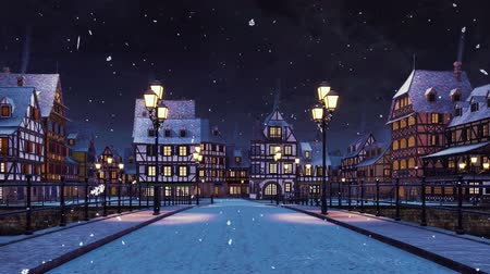 half timbered : Empty streets of cozy european town on the river with traditional half-timbered houses and bridge lit by street lanterns at winter night during snowfall
