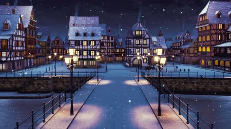 half timbered houses : Cozy snow covered medieval town on the river with traditional half-timbered european houses and empty bridge lit by street lanterns at snowfall winter night Stock Footage