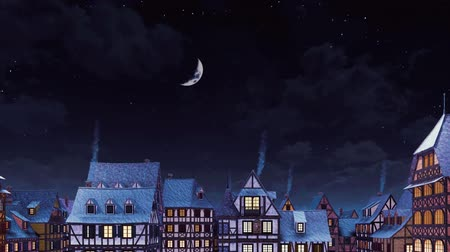 half timbered : Rooftops with smoking chimneys of traditional half-timbered european houses at cozy medieval town under starry night sky with big half moon at calm winter night
