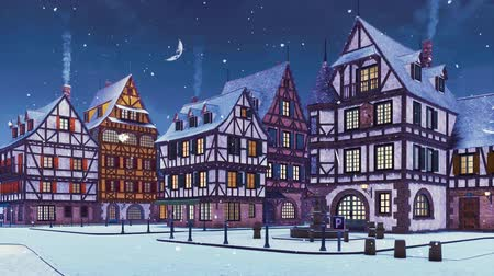 half timbered : Empty snow covered street of cozy medieval town with traditional half-timbered european houses at snowfall winter evening with half moon in the sky