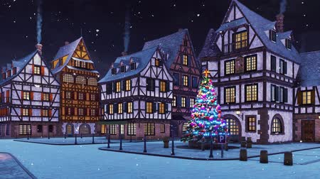 christmas tree with lights : Empty street of cozy european town with traditional half-timbered houses and decorated outdoor christmas tree at snowfall winter night
