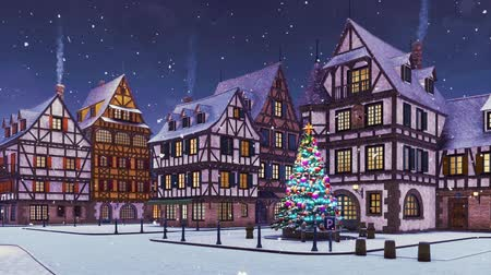 half timbered houses : Cozy european town with decorated outdoor christmas tree on its square and traditional half-timbered houses at dusk or dawn during snowfall