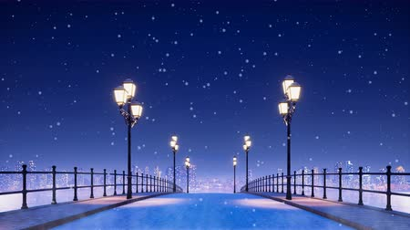 sokak lâmbası direği : Dreamlike winter scenery with empty bridge and pavement walkway lit by street lights against city skyline background at calm night during snowfall Stok Video