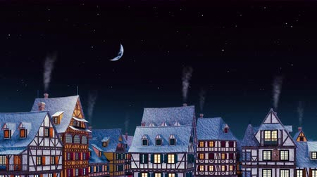 half timbered houses : Tiled rooftops with smoking chimneys of traditional half-timbered european houses at old cozy town against starry night sky with half moon at calm night