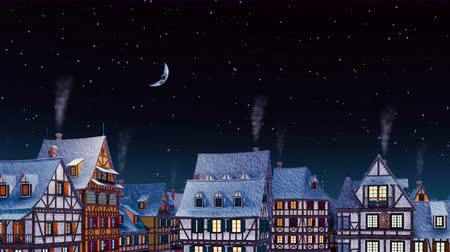 half timbered : Rooftops with smoking chimneys of traditional half-timbered european houses at cozy medieval town under night sky with half moon at snowfall winter night
