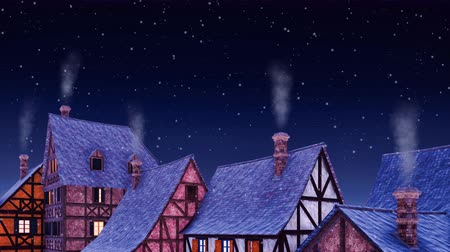 half timbered : Tiled roofs of traditional half-timbered european houses with smoke from its chimneys against starry sky at winter night during snowfall