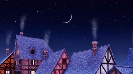 half timbered : Tiled roofs of traditional half-timbered european rural houses with smoke from its chimneys against starry night sky with half moon. Dreamlike medieval scenery 3D animation.