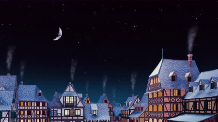 half timbered : Tiled rooftops with smoking chimneys of traditional half-timbered european houses at cozy medieval town against starry sky with half moon at night. Dreamlike scenery 3D animation.