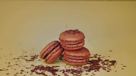 ralado : French chocolate macaroons with falling grated chocolate. Sweet dessert.
