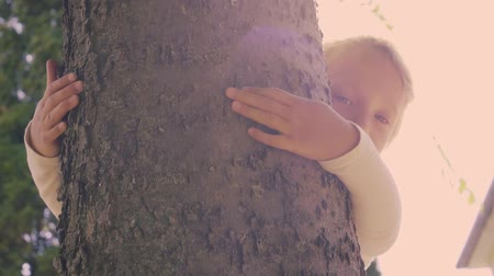 Cute little girl hugging a tree. Love for nature. Stok Video