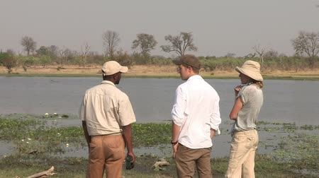 güney afrika : Zoom out on tourists and safari guide looking at hippo in the water Stok Video