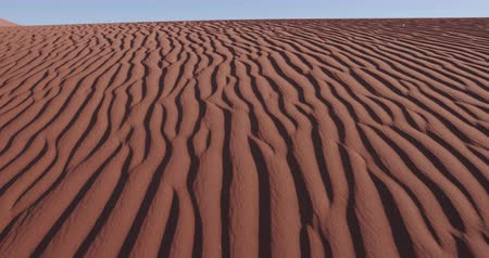 дюна : 4K close-up moving shot of ripples in the surface of a sand dune inside the Namib-Naukluft National Park Стоковые видеозаписи