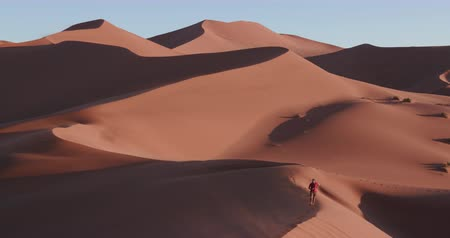 namibya : 4K static shot of male tourist walking on the sand dunes inside the Namib-Naukluft National Park