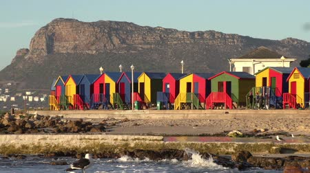 holiday makers : Zoom out of brightly coloured changing rooms and tidal pool of the famous St. James beach, Cape Town,South Africa Stock Footage