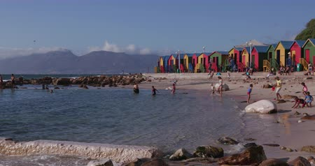 garden route : Tidal pool at St James Beach Cape Town Stock Footage