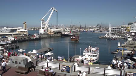 victoria and alfred waterfront : Panning shot of the Victoria and Alfred Waterfront,Cape Town,South Africa Stock Footage