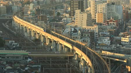 kanto : Evening view with Shinkansen Stock Footage