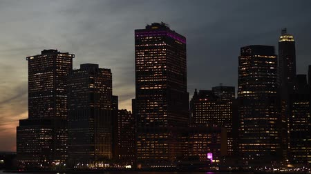 Amazing Night New York City Manhattan skyline panorama view over Hudson River. Sightseeng tour in NYC in dusk. 影像素材