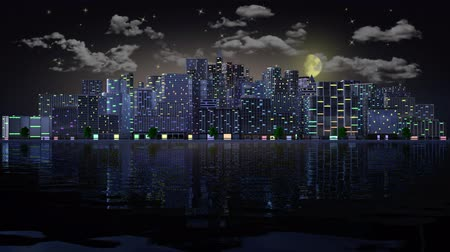 Animation. City Profile from day to night. The moon rises and the lights turn on. Stock Footage
