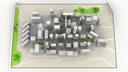 Animation, 3D Illustration. Road map. Cities, skyscrapers and houses positioned on the map.